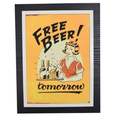 Quadro Decorativo Free Beer Tomorrow - 30 x 23 cm