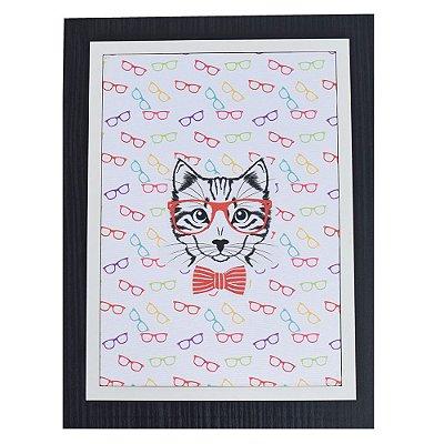Quadro Decorativo Gato - 30 x 23 cm