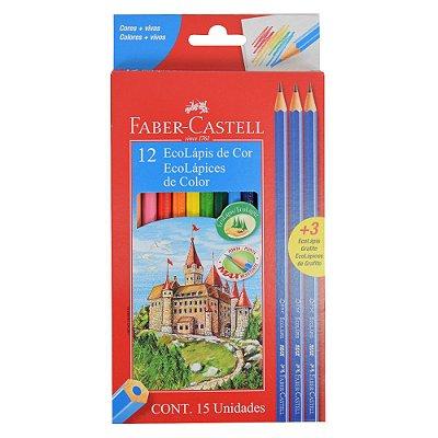 Lápis de Cor Sextavado Faber Castell - 12 cores + 3 lápis grafite