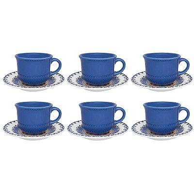 Conjunto de Xícaras de Chá Floreal - 12 Peças - Oxford