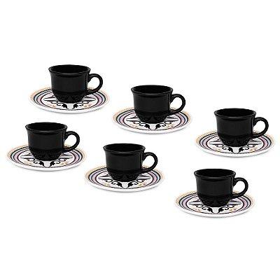Jogo de Xícaras de Café Floreal Luiza - 12 peças - Oxford