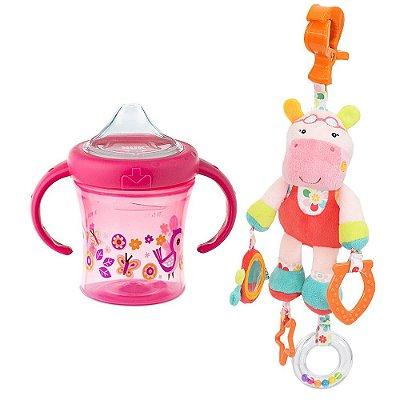 Kit Pelúcia de Atividades Hipopótamo Rosie + Copo My First Rosa  - Nuk