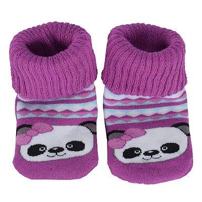 Meia Baby Antiderrapante Atoalhada Panda - Lupo