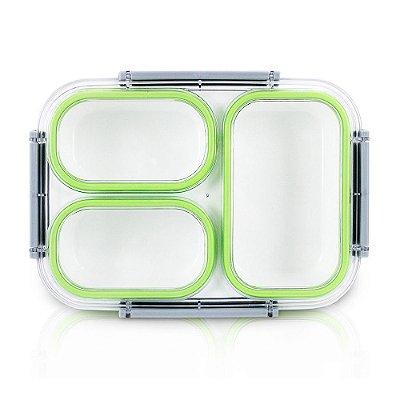 Pote Para Marmita 1350ml - 3 Compartimentos - Verde - Jacki Design