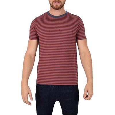 Camiseta Masculina Listrada Azul Vermelho - Levis 72c593bb570