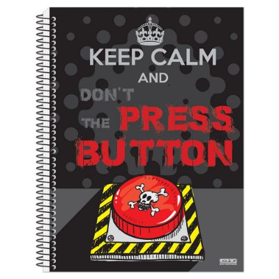 Caderno Keep Calm and Don't Press the Button - 10 Matérias