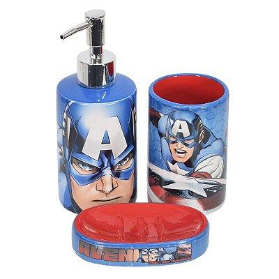 Jogo de Banheiro Capitão América - 3 Peças - Mabruk