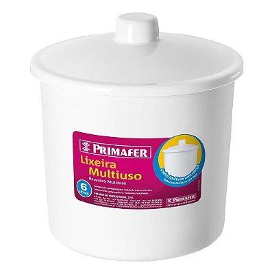 Lixeira Redonda Multiuso Branco 6L - Primafer