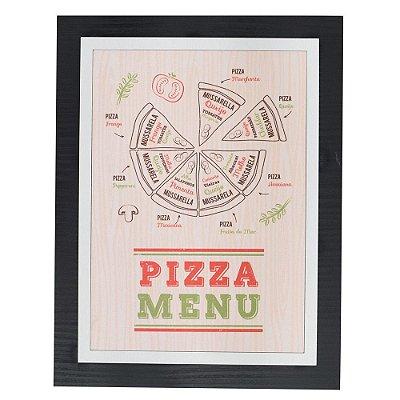 Quadro Decorativo Pizza Menu - 30 x 23 cm
