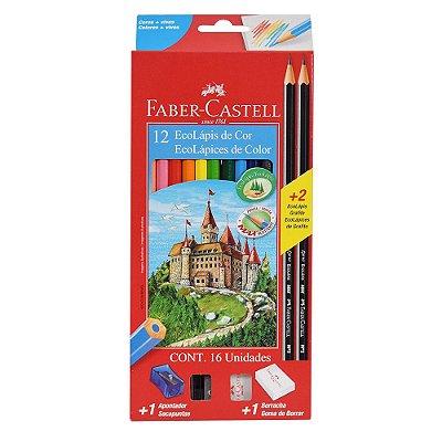 Lápis de Cor Sextavado Faber Castell com Kit Escolar - 12 cores