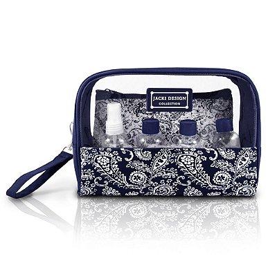 Kit Necessaire Jacquard - Azul Marinho - Jacki Design