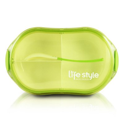 Pote Para Marmita 750ml - 3 Compartimentos - Verde - Jacki Design