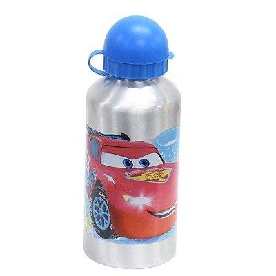 Garrafa Infantil De Alumínio 500ml - Relâmpago McQueen Azul - Carros - DTC