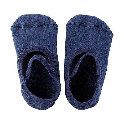 Meia Infantil Atoalhada Antiderrapante Com Tira - Azul - Lupo