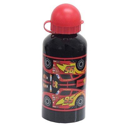 Garrafa Infantil De Alumínio 500ml - Relâmpago McQueen Preta - Carros - DTC
