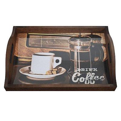 Bandeja Com Vidro - Drink Coffee -  Vikos