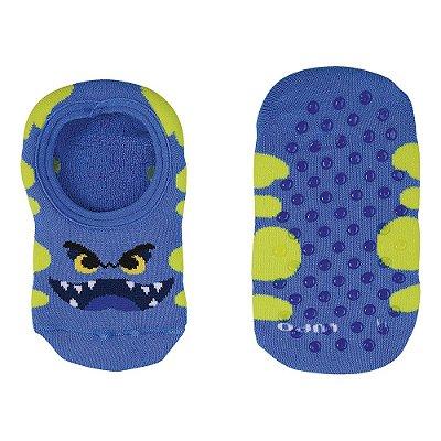 Meia Infantil Masculina Atoalhada Antiderrapante - Monstrinho Azul - Lupo