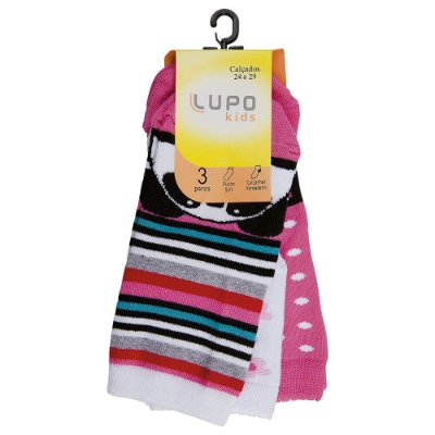 Kit Meia Infantil Feminina - 3 Pares - Panda - Lupo