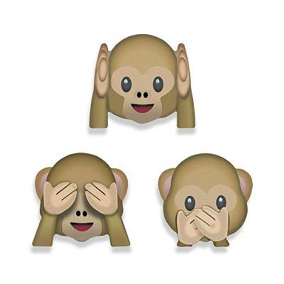 Super Ímãs Emojis - Macaquinhos - 3 Peças - Geguton