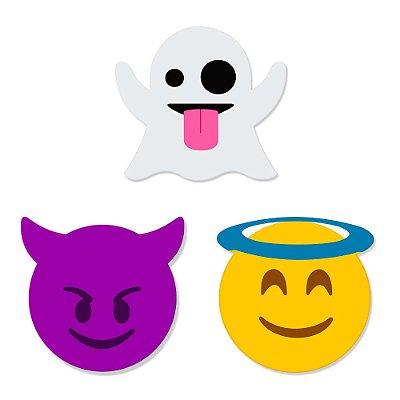 Super Ímãs Emojis - Fastasma, Capetinha e Anjinho - 3 Peças - Geguton