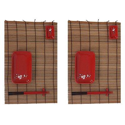 Conjunto Para Comida Japonesa - 2 Pessoas - Vermelho - BTC