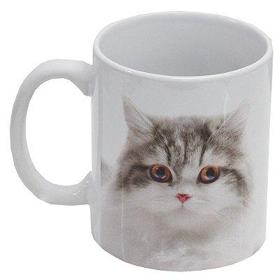 Caneca de Cerâmica - Eu amo meu Gato - Cinza - Vikos