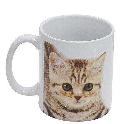 Caneca de Cerâmica - Eu amo meu Gato - Pardo - Vikos