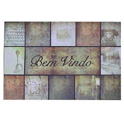 Capacho Bem Vindo Vintage - 40 x 60 cm - Via Star