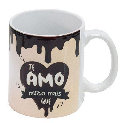Caneca de Cerâmica - Te Amo Mais que Chocolate - Vikos