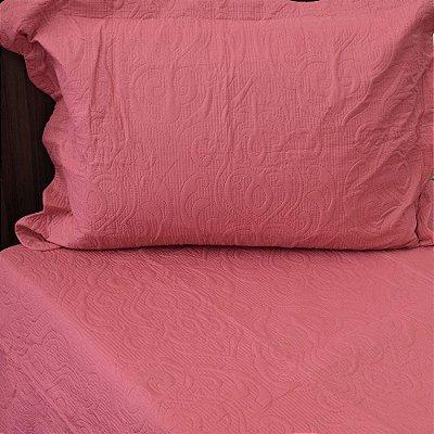 Kit Colcha Arabesque Solteiro Rosa Escuro - Camesa
