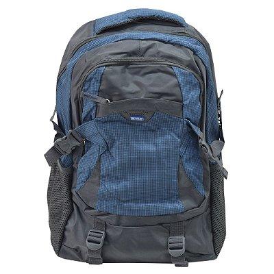 Mochila Para Notebook Quadriculada - Cinza e Azul - Republic Vix