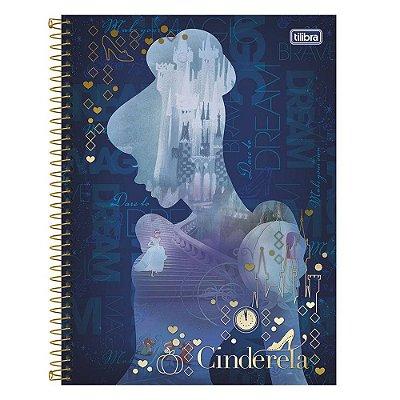Caderno Cinderela Azul - Disney - 1 Matéria - Tilibra
