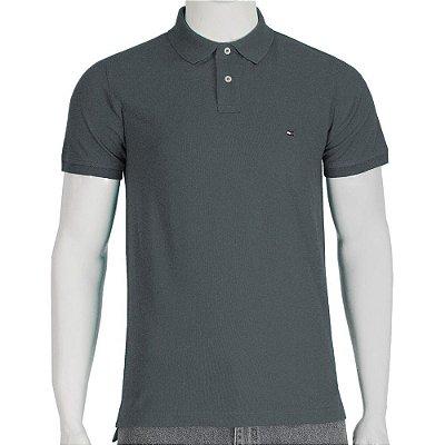 Camisa Polo Slim Fit - Grafite - Tommy Hilfiger