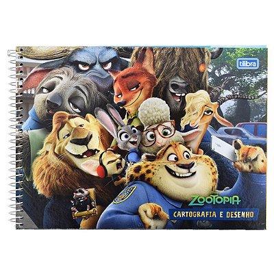 Caderno de Cartografia e Desenho - Selfie Zootopia - 96 Folhas