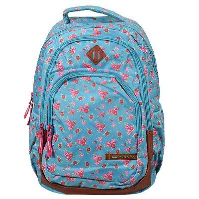 Mochila Para Notebook Feminina Flores - Azul e Rosa - DMW