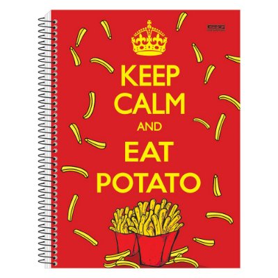 Caderno Keep Calm and Eat Potato - 1 matéria - São Domingos