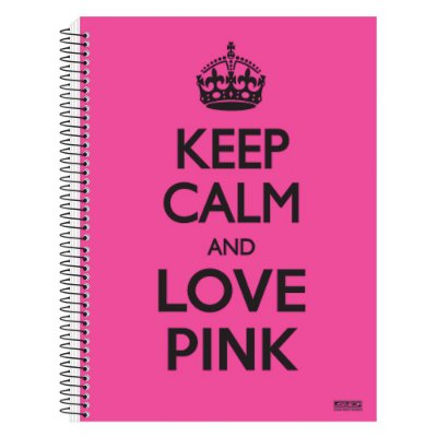 Caderno Keep Calm and Love Pink - 1 matéria - São Domingos