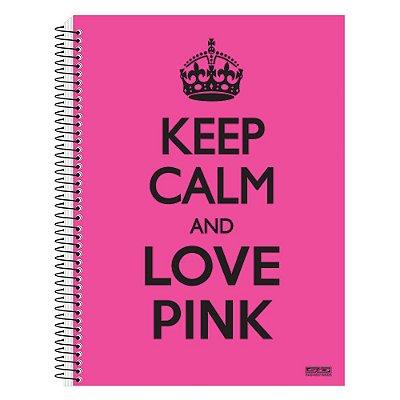 Caderno Keep Calm and Love Pink - 1 matéria - São Domingos