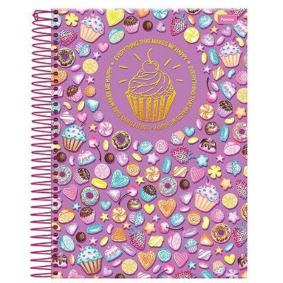 Caderno Cupcake - Lilás - 10 Matérias - Foroni