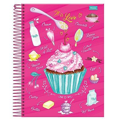 Caderno Cupcake - Rosa - 1 Matéria - Foroni