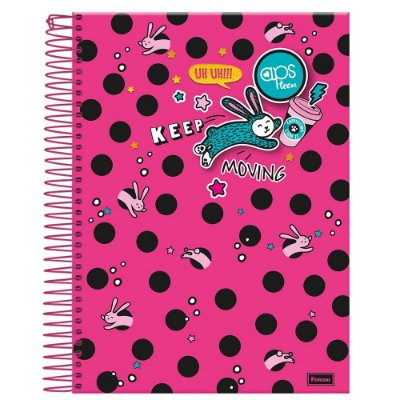 Caderno Amigas Teen - Keep Moving Rosa - 1 Matéria - Foroni