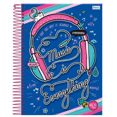 Caderno Amigas Teen - Music Is Everything Azul - 1 Matéria - Foroni