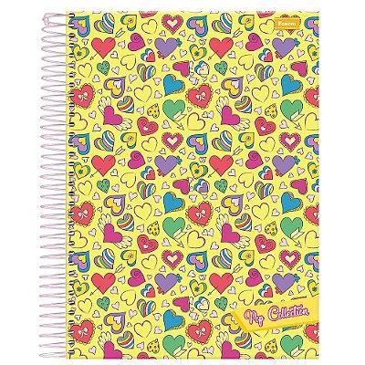 Caderno Pop Collection - Corações - Amarelo - 10 Matérias - Foroni