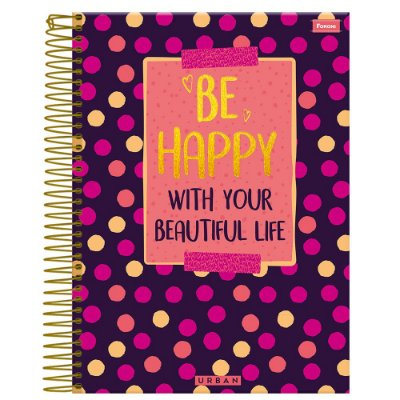 Caderno Urban - Be Happy - 1 Matéria - Foroni