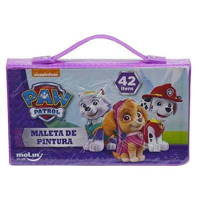 Maleta de Pintura Infantil - Patrulha Canina - Roxa - 42 Itens - Molin