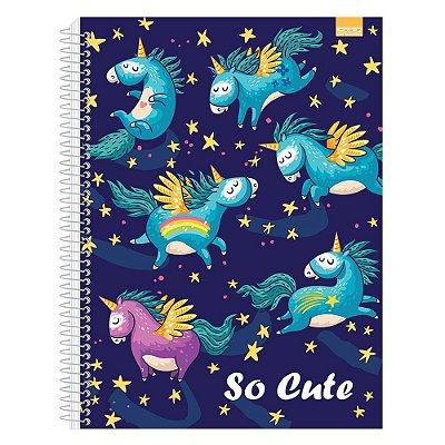 Caderno So Cute - Unicórnios - 1 Matéria - São Domingos