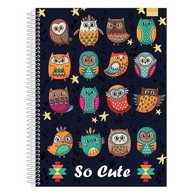 Caderno So Cute - Corujas Preto - 1 Matéria - São Domingos