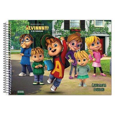 Caderno de  Desenho - Alvin, os Esquilos e as Esquiletes - 60 Folhas