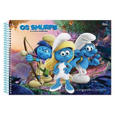 Caderno de Cartografia e Desenho - Smurfette e Smurfs - 60 Folhas