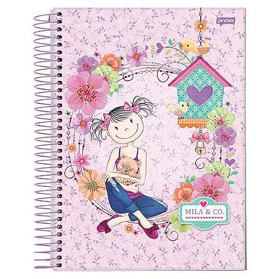 Caderno Mila & Co. - Rosa - 10 Matérias - Jandaia